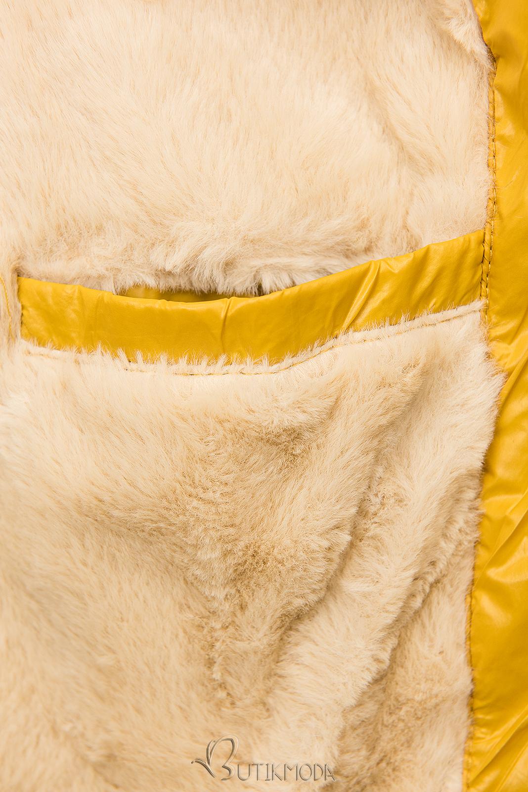 Jacke mit Gürtel und Fleecefutter gelb