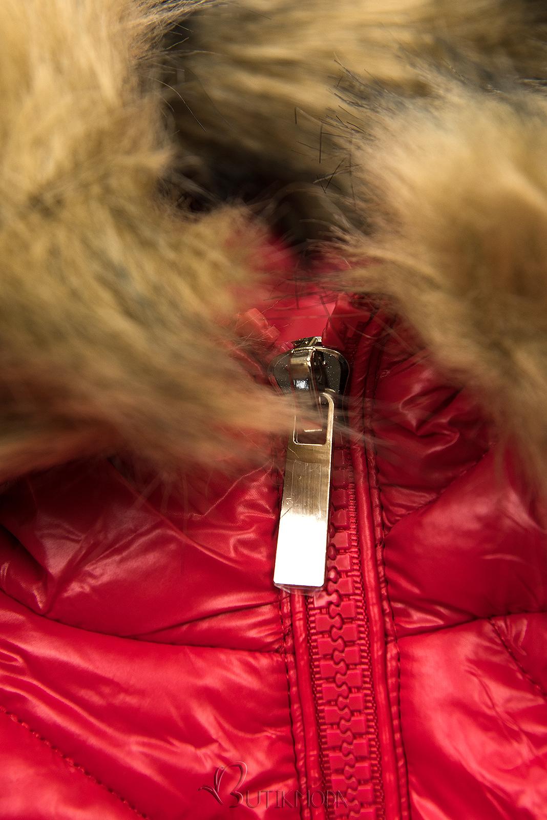 Jacke mit Gürtel und Fleecefutter rot