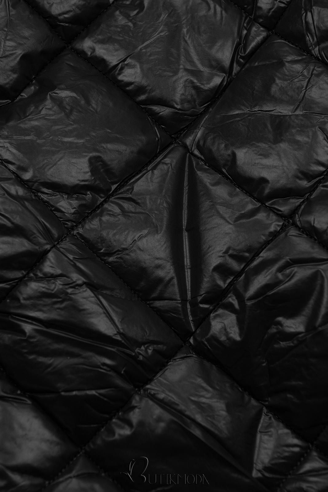 Jacke mit Gürtel und Fleecefutter schwarz
