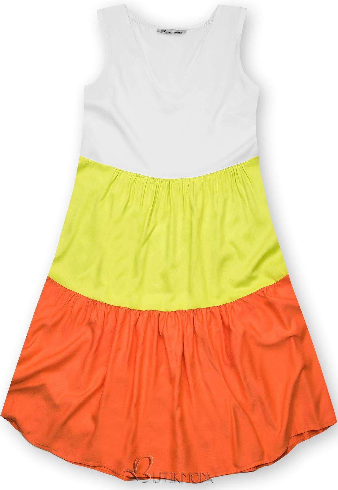 Kleid mit Color-Blocking-Optik gelbgrün/orange