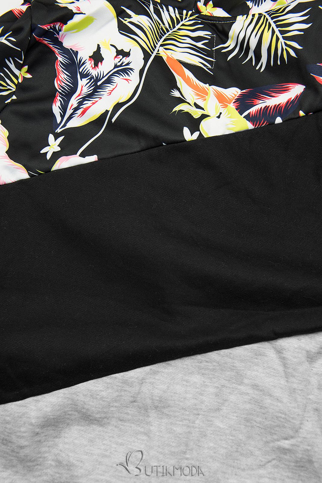 Sweatshirt mit Blumenmuster grau/schwarz