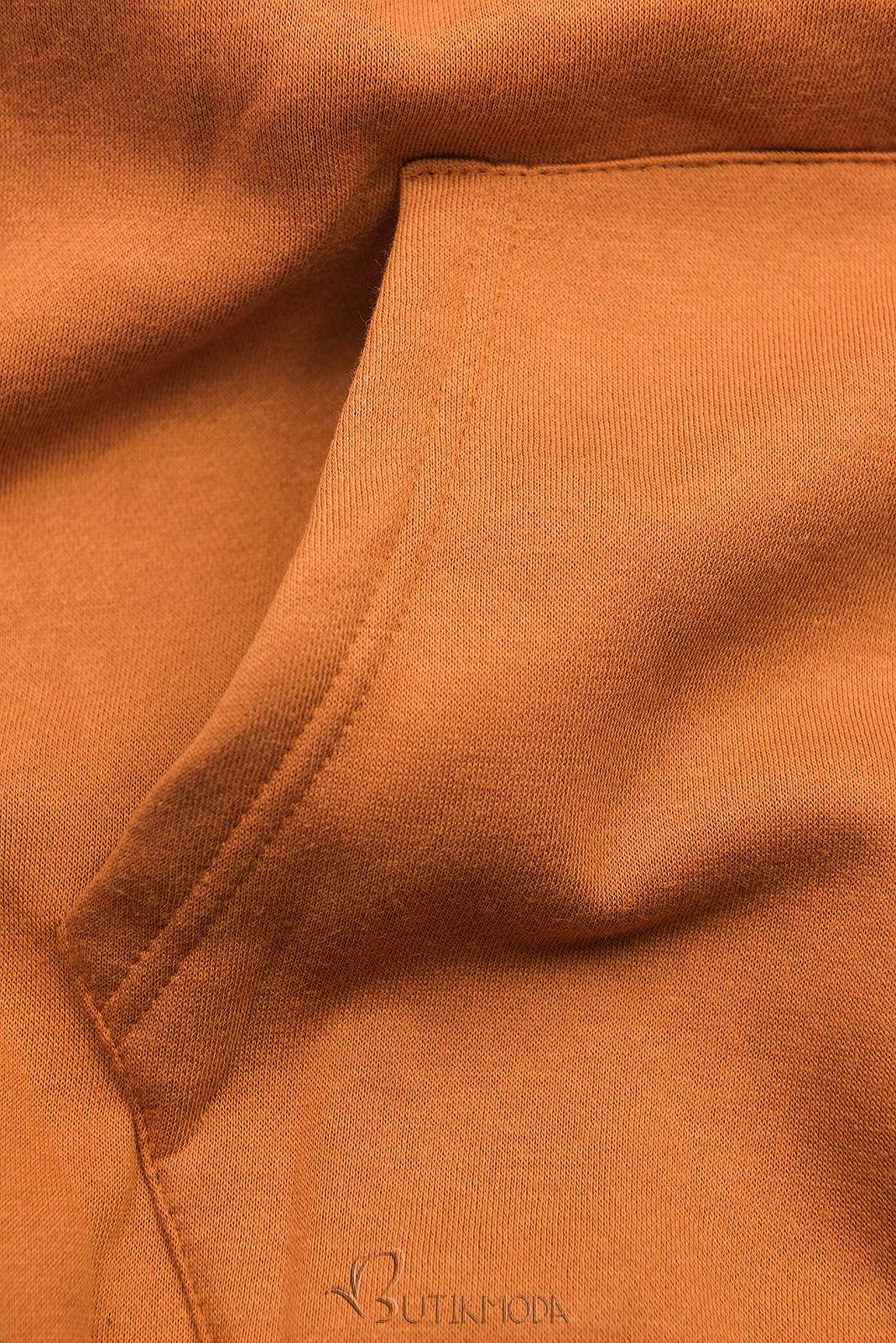 Sweatshirt mit Kapuze in Velour-Optik zimtbraun