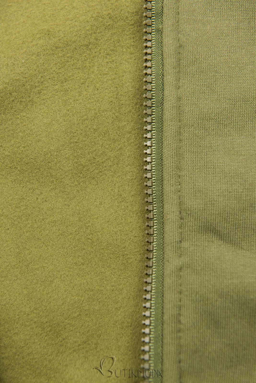 Sweatshirtjacke mit Stehkragen khaki