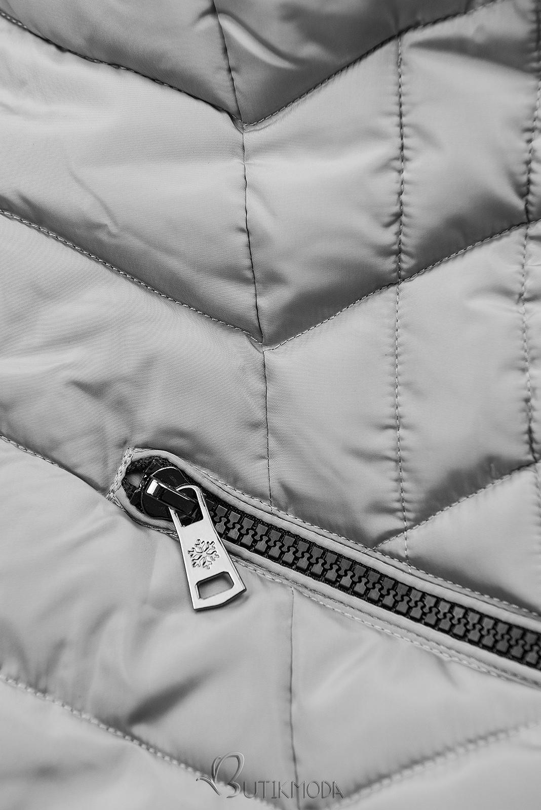Steppjacke für Winter mit Kunstpelz grau