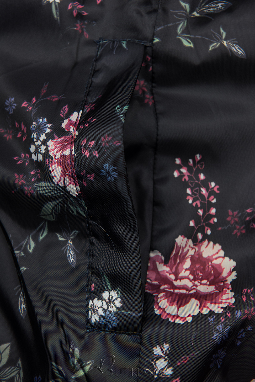 Jacke mit Blumenfutter dunkelblau