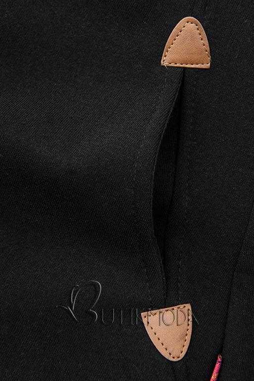 Sweatshirt/Sweatkleid mit Kapuze schwarz