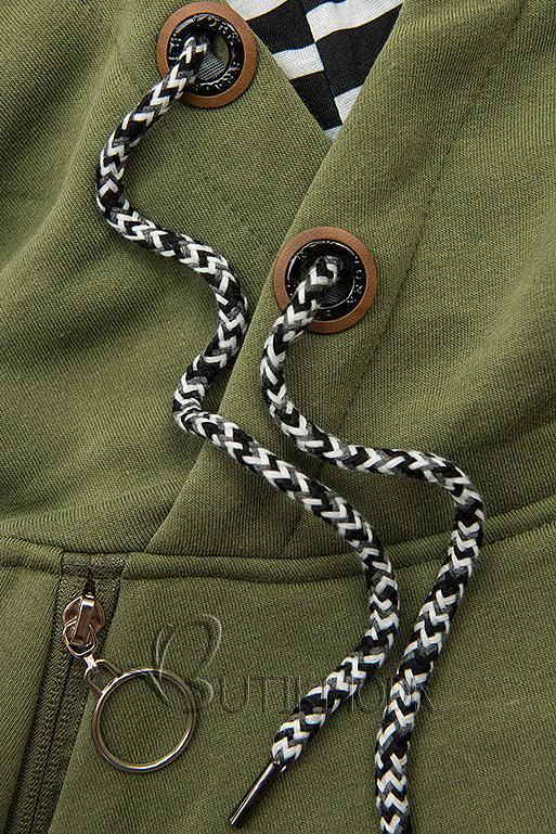Sweatshirt/Sweatkleid mit Kapuze khaki