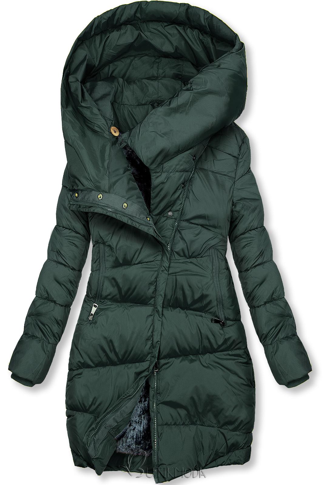 Winterjacke mit hohem Kragen grün