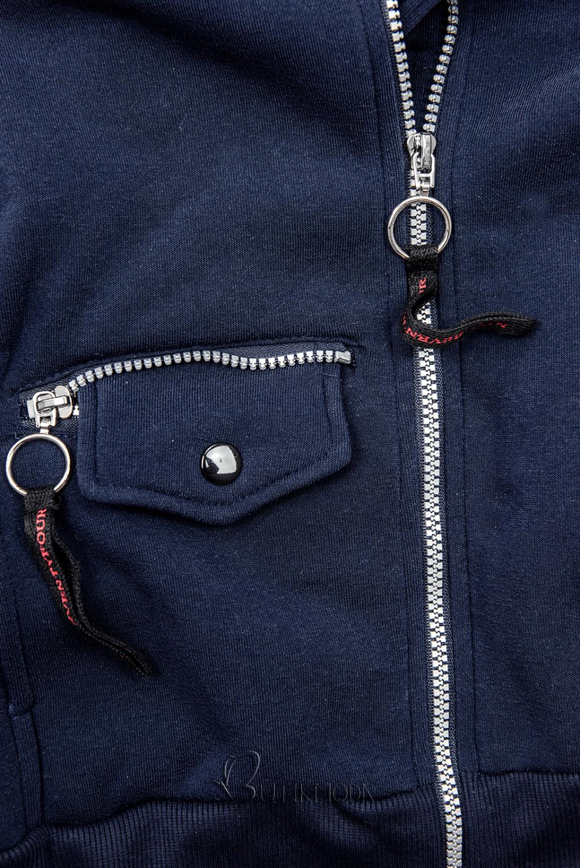 Sweatjacke mit Kapuze, Basic-Style dunkelblau
