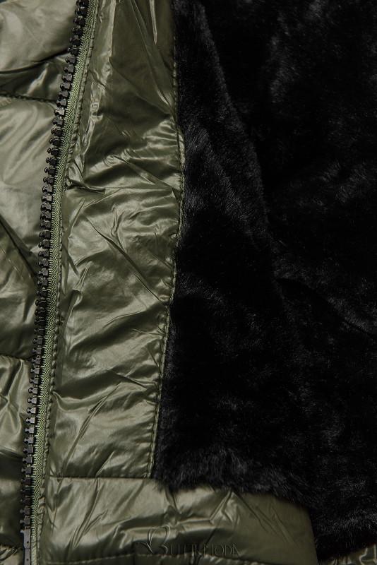 Jacke mit Gürtel und Fleecefutter khaki