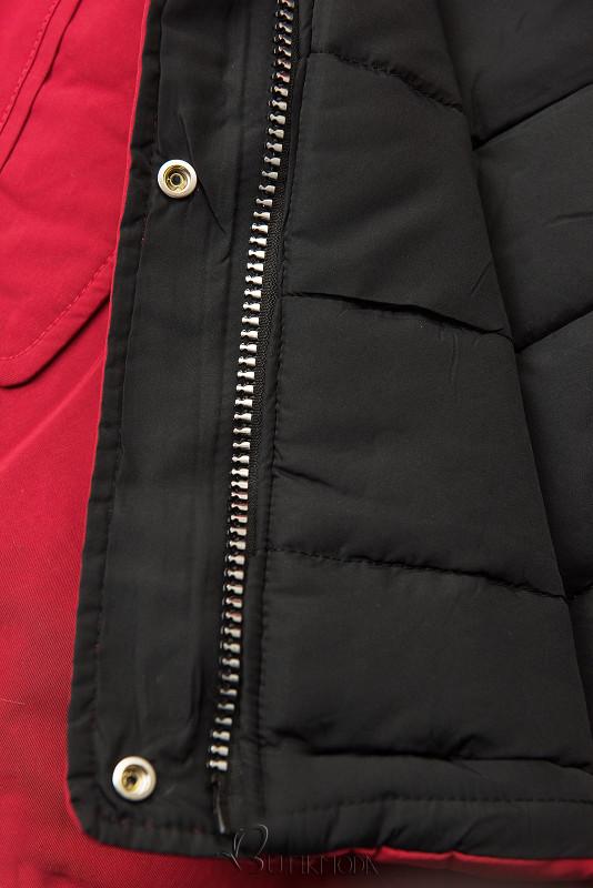 Winter Parkajacke mit Wendemöglichkeit rot/schwarz