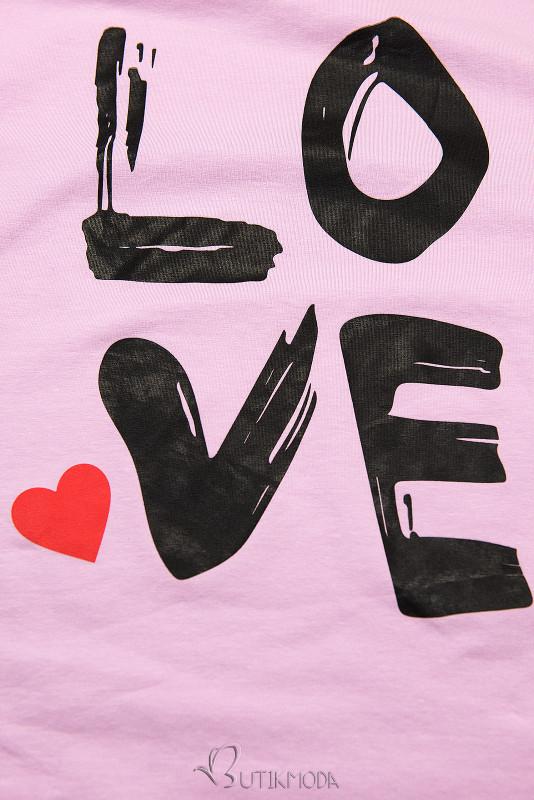 Tunikashirt mit Print LOVE lila