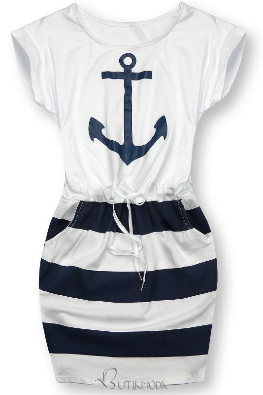Kleid im Anker Druck weiß/blau