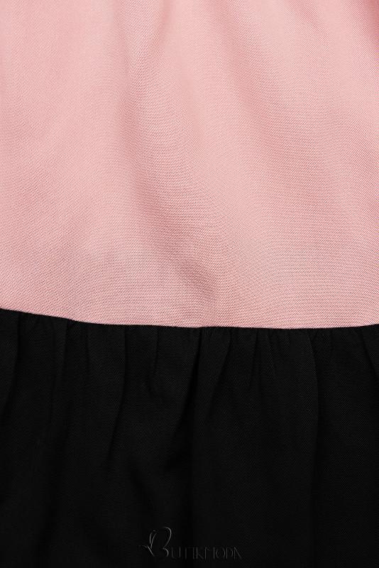 Kleid mit Color-Blocking-Optik rosa/schwarz