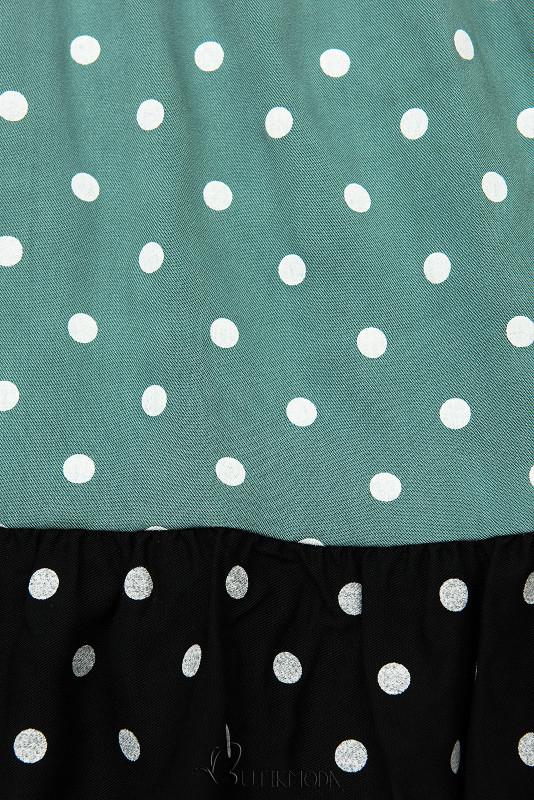 Kleid mit Punktedruck minzgrün/schwarz