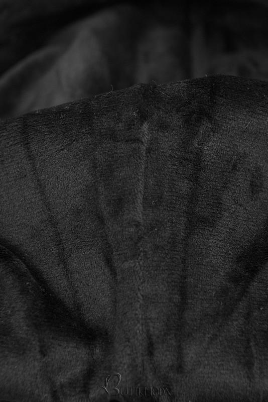 Sweatshirt mit Kapuze in Velour-Optik khaki
