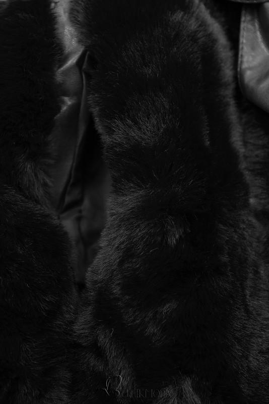 Weiche Weste mit Kunstfell schwarz