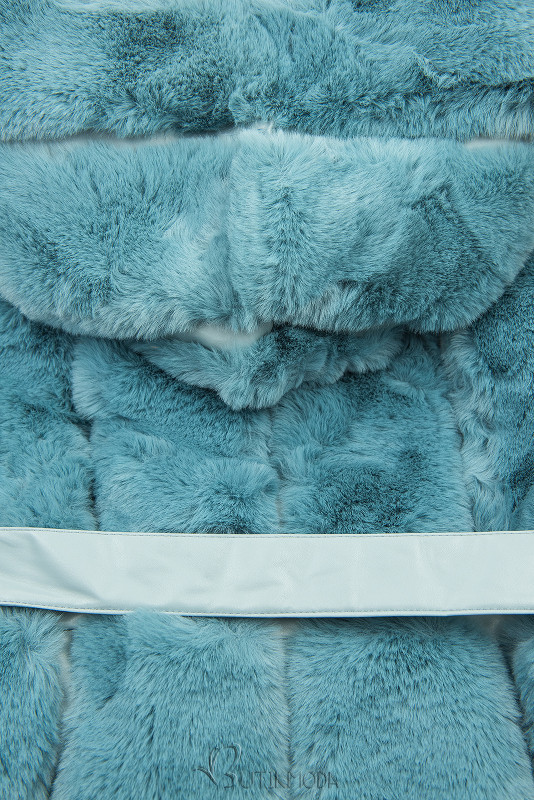 Weiche Weste mit Kunstfell türkisblau