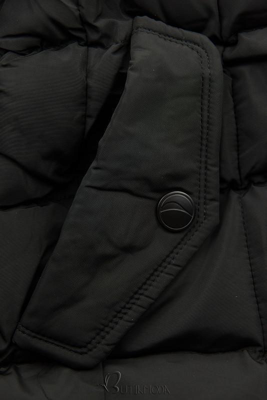 Winterjacke mit hohem Stehkragen schwarz
