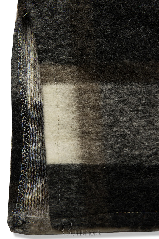 Hemdjacke in Maxilänge braun/weiß
