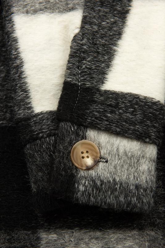 Hemdjacke in Maxilänge schwarz/weiß