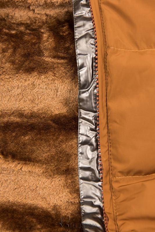 Steppmantel mit Kapuze von LHD karamell braun