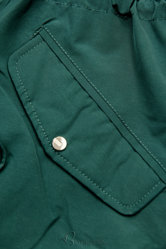 Leichter Parka mit abnehmbarer Kapuze grün/grau