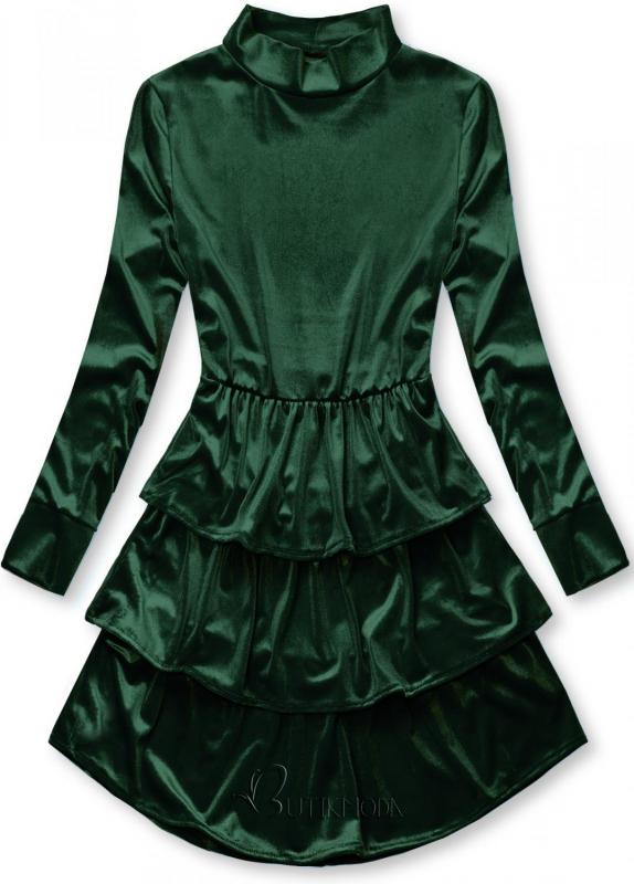 Kleid in Samt-Optik grün