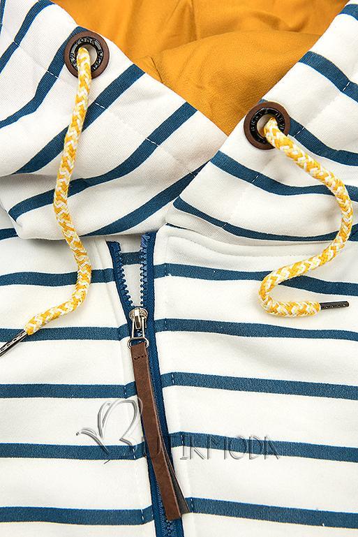 Kapuzenjacke in Streifenoptik weiß/blau/gelb