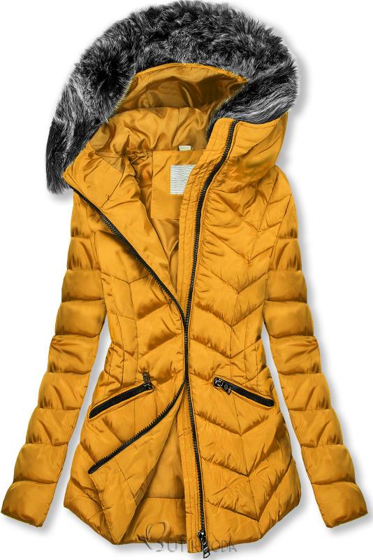Steppjacke für Winter mit Kunstpelz gelb