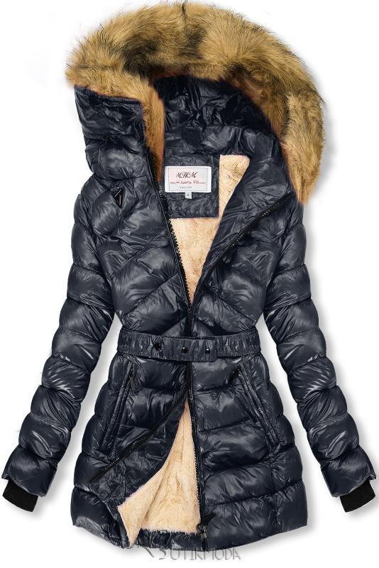 Jacke mit Gürtel dunkelblau/beige