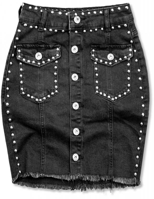 Schwarzer Jeansrock mit silbernen Fäden