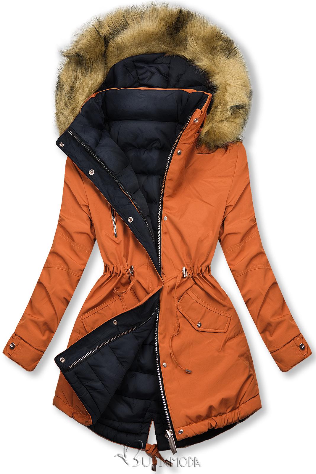 Winter Parkajacke mit Wendemöglichkeit orange/dunkelblau