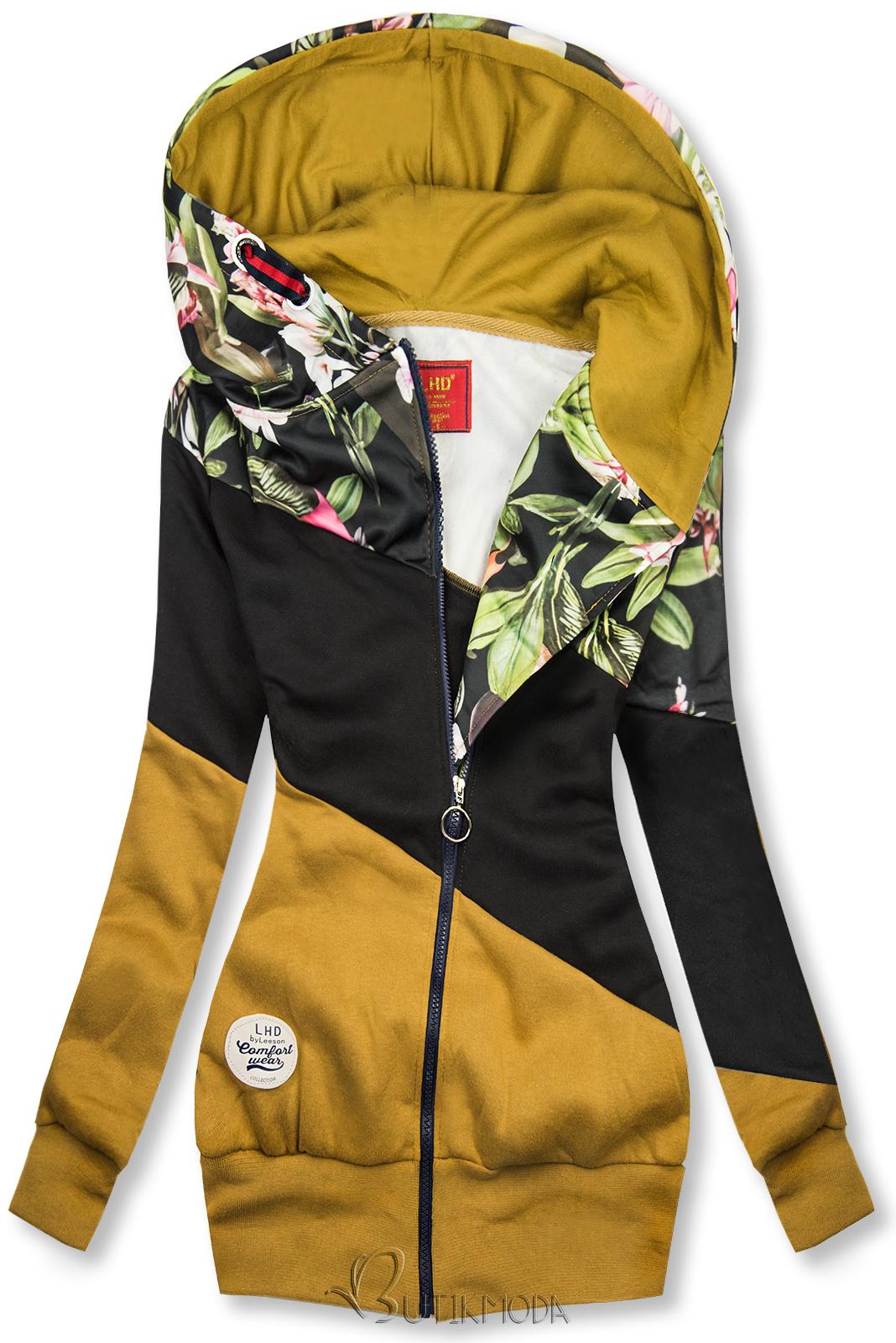 Sweatshirt mit Blumenmuster mustard/schwarz