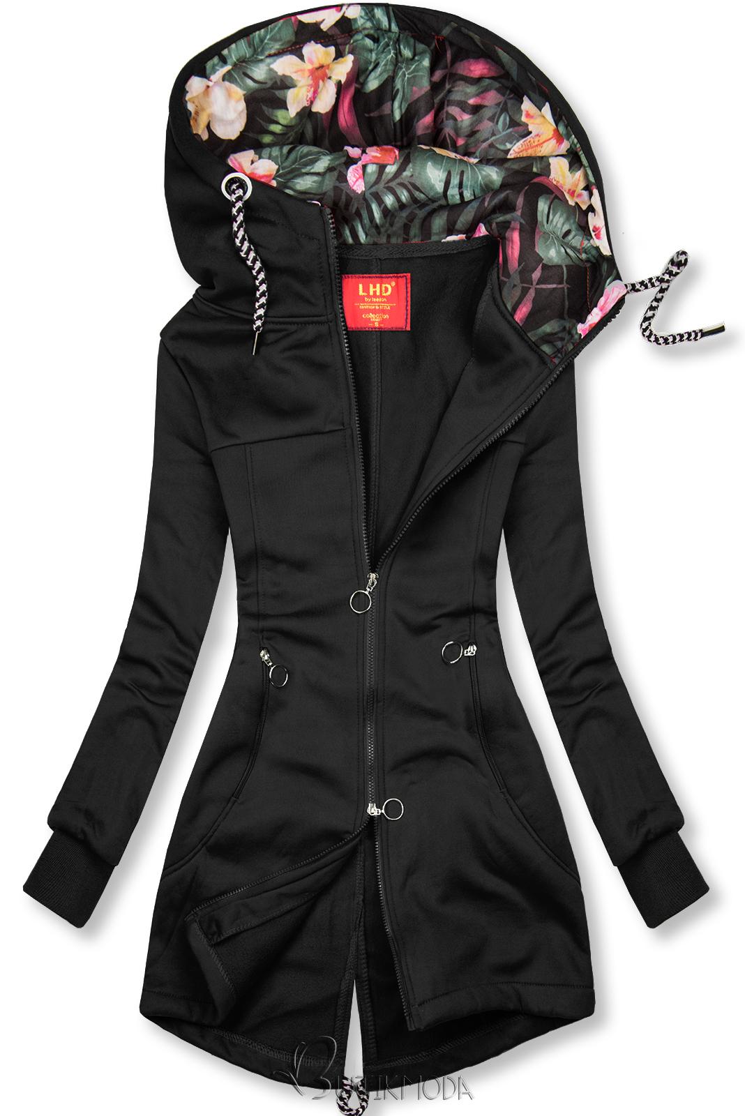 Sweatshirtjacke mit Stehkragen schwarz