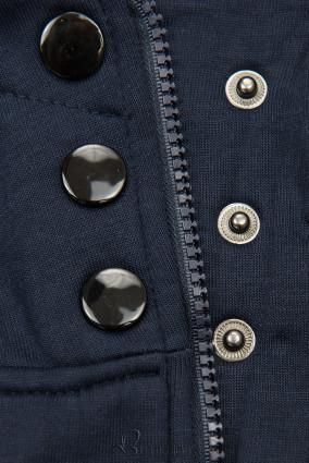 Kapuzensweatjacke in langer Form dunkelblau