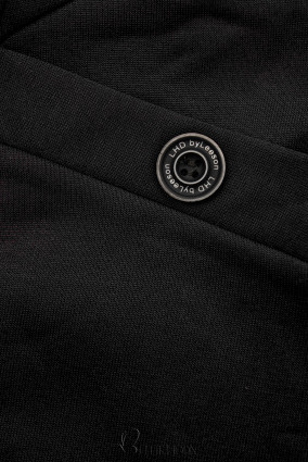 Verlängerte Kapuzenjacke mit Blattmuster schwarz