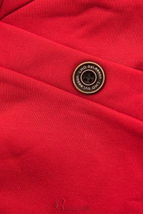 Verlängerte Kapuzenjacke mit Blattmuster rot