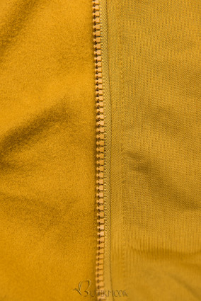Verlängerte Kapuzenjacke mit Blattmuster mustard