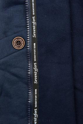 Verlängerte Kapuzenjacke mit Blattmuster dunkelblau