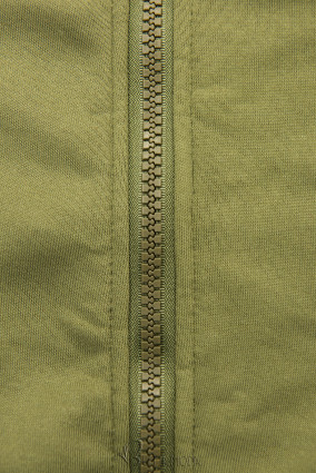 Verlängerte Kapuzenjacke mit Blattmuster khaki