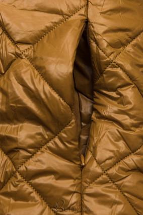 Jacke mit Gürtel und Fleecefutter karamellbraun