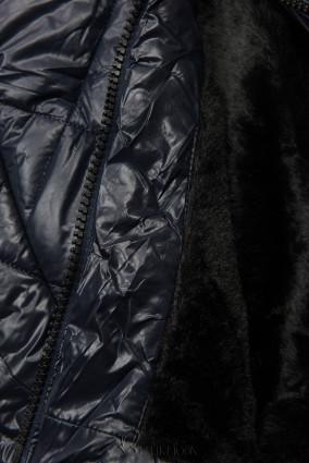 Jacke mit Gürtel und Fleecefutter dunkelblau