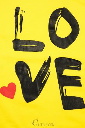Tunikashirt mit Print LOVE gelb