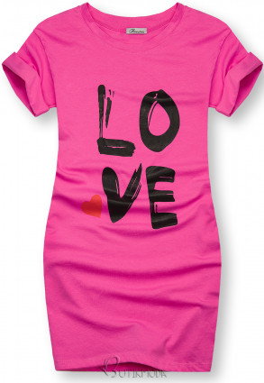 Tunikashirt mit Print LOVE fuchsia