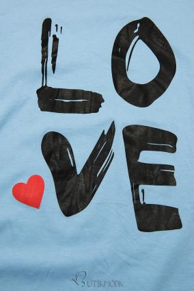 Tunikashirt mit Print LOVE blau