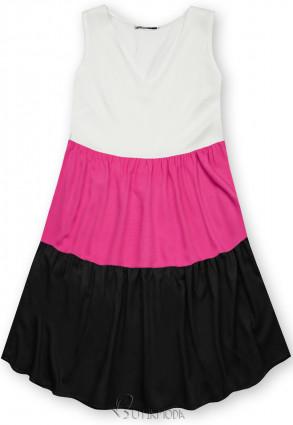 Kleid mit Color-Blocking-Optik fuchsia/schwarz