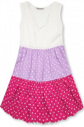 Kleid mit Punktedruck lila/rosa