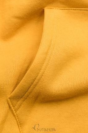 Sweatshirt mit Kapuze in Velour-Optik gelb