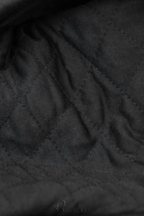 Verlängerte Sweatjacke mit gesteppte Kapuze schwarz